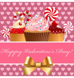 Valentine day pastry and sweets vector