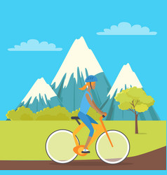 Young girl isolated on bike riding near mountains vector