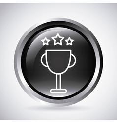 Trophy button silhouette icon design vector