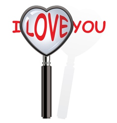 Magnifying glass over i love you words vector
