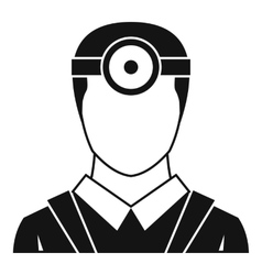Ophthalmologist with head mirror icon simple style vector