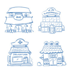 Doodle building facade of shop bar cafe mall vector