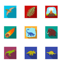 ancient extinct animals and their tracks and vector image