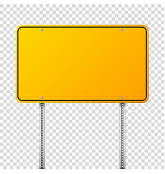 Road yellow traffic sign blank board with place vector