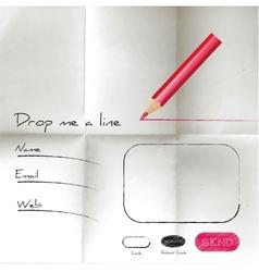 Creative sketch web form on creared paper vector