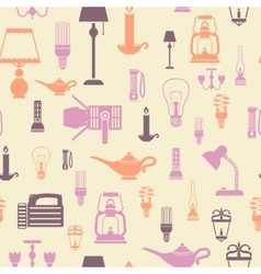 Flashlight and lamps seamless pattern vector