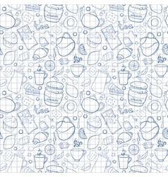 Tea and sweets seamless pattern on exercise book vector