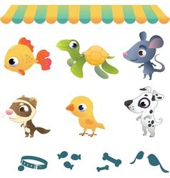Set of cartoon pets vector image