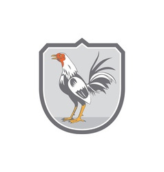 Cockerel rooster standing shield retro vector