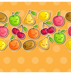 Seamless pattern with cute kawaii smiling fruits vector