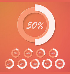Set of infographic diagram percent circles vector