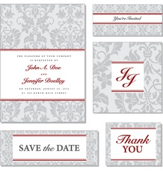 grey victorian pattern with red accented fr vector