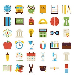 Big flat back to school objects set isolated over vector