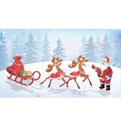 Santa claus are near his reindeers in harness vector