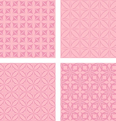 Vintage pink seamless pattern background set vector