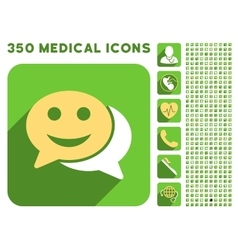 Happy chat icon and medical longshadow icon set vector