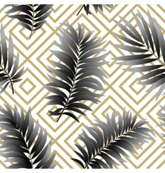 Tropical palm leaves seamless geometric vector