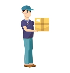 Delivery man holding and carrying a cardbox icon vector image