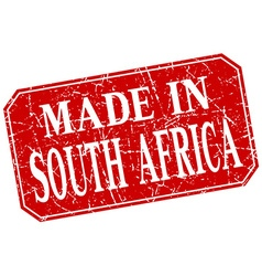 Made in south africa red square grunge stamp vector