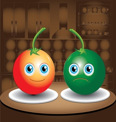Two tomatoes vector