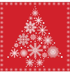 Xmas tree made out of snowflakes on red background vector