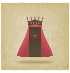 Queen in red veil old background vector