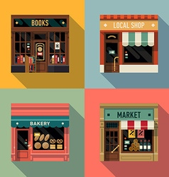 Local shops shopfront icon set vector