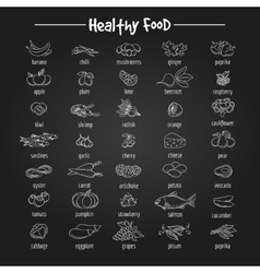 Healthy eating fish and vegetables icons vector