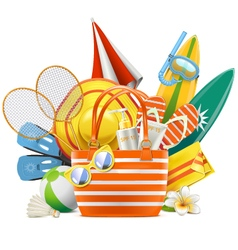 Beach accessories with bag vector