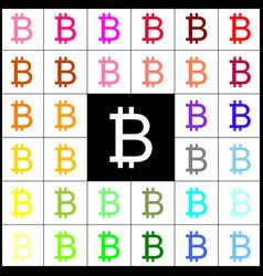 Bitcoin sign felt-pen 33 colorful icons vector