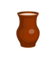 Clay jug full of milk icon cartoon style vector
