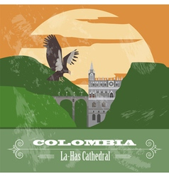 Colombia landmarks Retro styled image vector image vector image