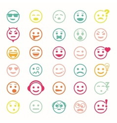Color set of icons with smiley faces vector image