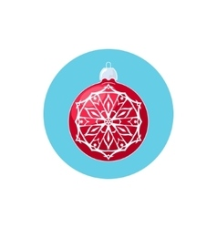 Colorful icon red ball with snowflake vector