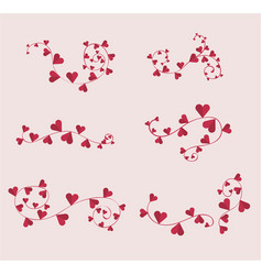 decorative hearts borders set for valentine day vector image