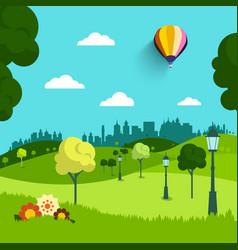 empty park flat design landscape natural scene vector image vector image
