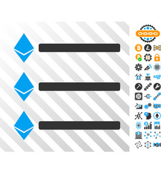 Ethereum list cards with bonus vector