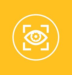 Eye with gear icon in circle vector