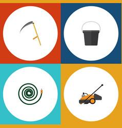 Flat icon farm set of hosepipe pail lawn mower vector