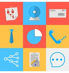 Flat icons for outsource communication vector