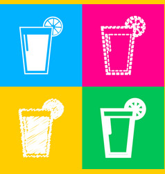 Glass of juice icons four styles of icon on four vector