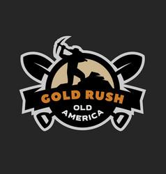 gold rush emblem logo vector image