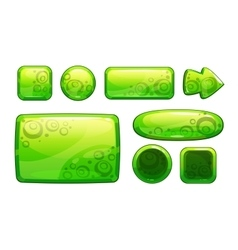 Green glossy game assets set vector image