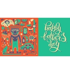 happy fathers day greeting card with hand vector image