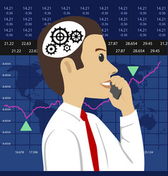 Head and gears young stock broker vector