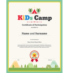 Kids certificate of participation template camping kid certificate of participation template for camp vector image pronofoot35fo Choice Image