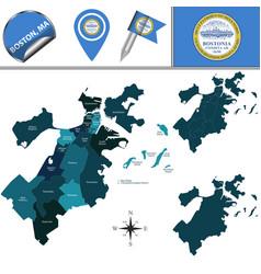 Map of boston with neighborhoods vector