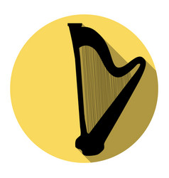 Musical instrument harp sign flat black vector