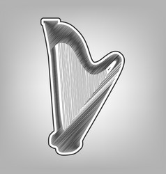 Musical instrument harp sign pencil vector