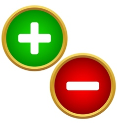 Positive and negative buttons vector image